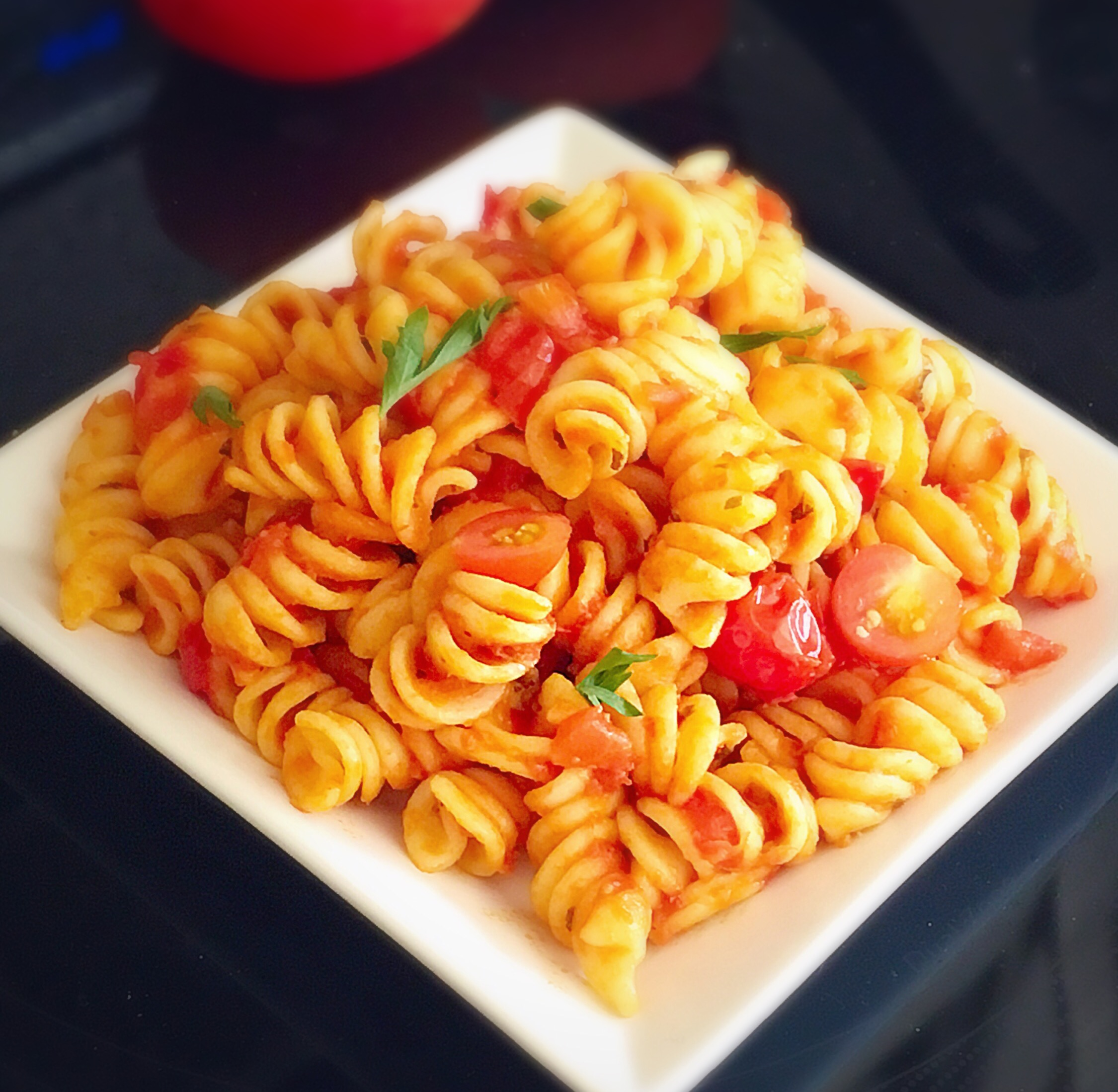 Tomato Pasta Recipe In Basil Garlic Sauce Sandhya S Recipes