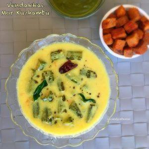 Vendakkai mor kuzhambu,okra buttermilk curry,okra buttermilk kuzhambu,mor kuzhambu,south indian kuzhambu,buttermilk kuzhambu