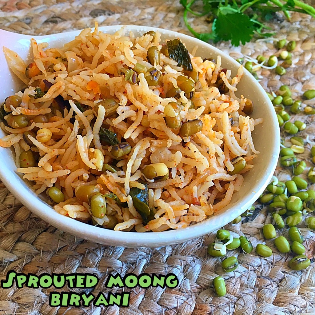 Sprouted moong biryani recipe