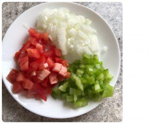 chop vegetables for egg pasta