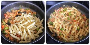 toss cooked pasta in egg mixture for egg pasta