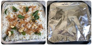 close the baking pan with aluminium foil for baked vegetable biryani