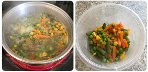 draining water from boiled vagetables for baked vegetable biryani