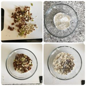 chop dried fruits and toss it in flour for fruit cake