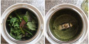 grind mint and cilantro for green vegetable biryani