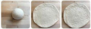 flattern the pizza dough for mushroom pizza
