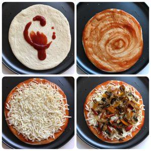 add saue, mozzarella cheese and topping for mushroom pizza
