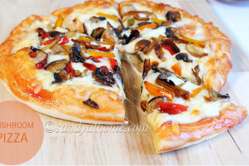 mushroom pizza recipe, homemade pizza, cheesy pizza, pizza, veg pizza