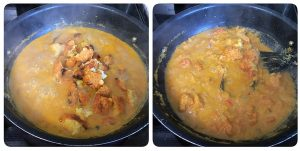 add vada pieces into curry mixture