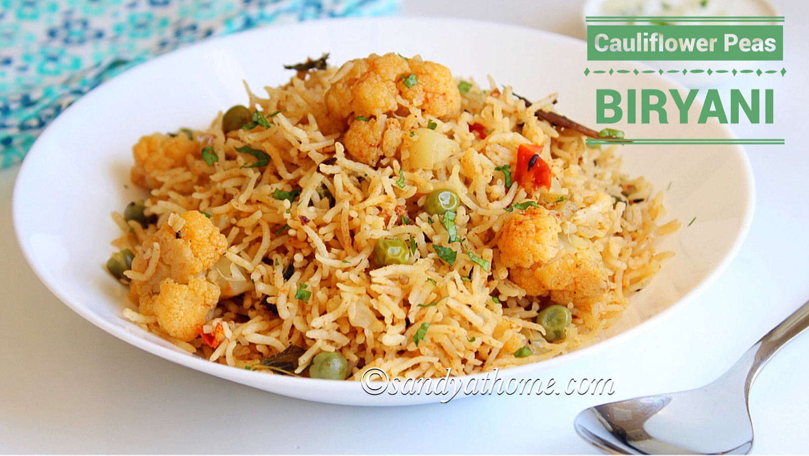 cauliflower peas biryani recipe, cauliflower biryani recipe