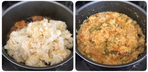 add mashed rice and dal to veggie mixtue, mix well