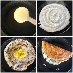 make dosa and keep potato masala in the center and serve it