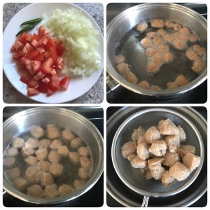 chop vegetables and cook soya chunk