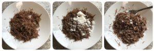 add grated coconut, sugar, cardamom powder and mix well