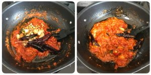 pour tempering over cooked tomato mixture