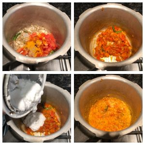 Add tomatoes, dry masala powder and coconut paste