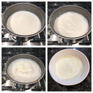 Boil milk and allow it become warm