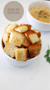 homemade croutons recipe, stove top croutons