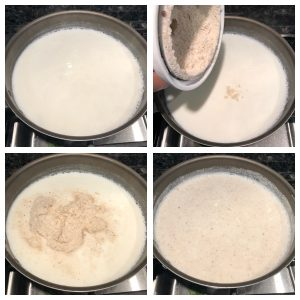 add phool makhane powder in boiling milk
