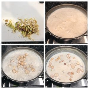 Add chopped nuts and remaining roasted phool makahane in kheer