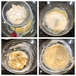Add flour to make cake batter