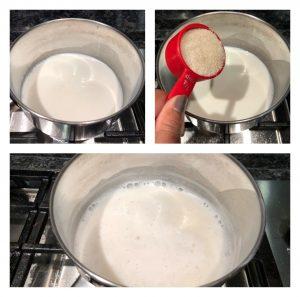 Heat milk with sugar