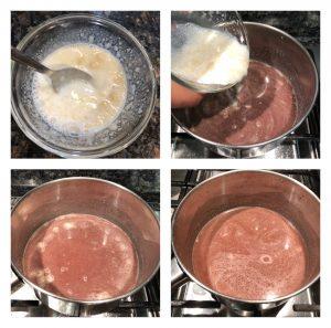 Add gelatine mixture and vanilla syrup