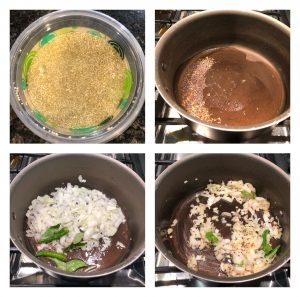 Soak quinoa and saute onions