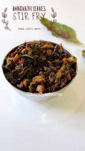 amaranath leaves stir fry, Thottakura vepudu recipe