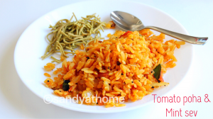 tomato poha, mint sev, breakfast