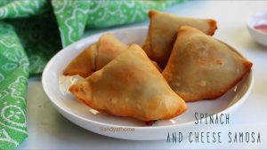 spinach and cheese samosa
