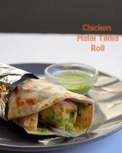chicken malai tikka roll recipe
