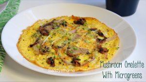microgreen mushroom omelette