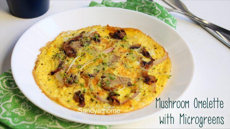 mushroom omelette with microgreen